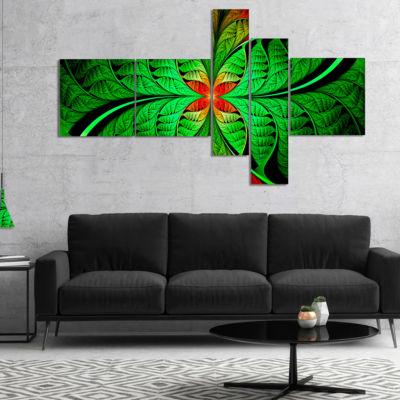 Designart Fractal Green Leaf Design Multipanel Abstract Canvas Art Print - 5 Panels