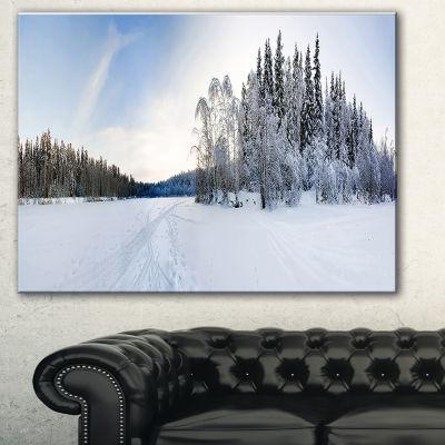 Designart Winter Field Landscape Photography Canvas Art Print