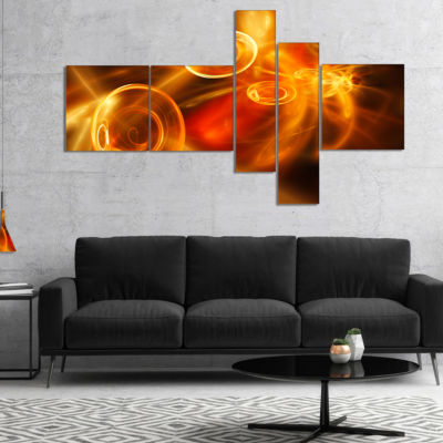 Designart Yellow Fractal Desktop Multipanel Abstract Canvas Art Print - 4 Panels