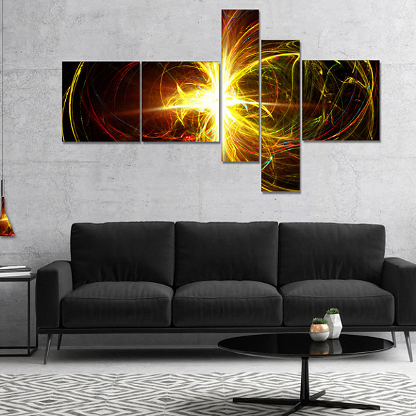 Designart Fractal Hoops Multipanel Abstract CanvasArt Print - 5 Panels