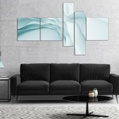 Designart Fractal Large Blue 3D Waves Multipanel Abstract Canvas Art Print - 4 Panels