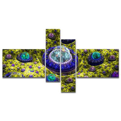 Designart Yellow Fractal Exotic Planet MultipanelAbstract Canvas Art Print - 4 Panels