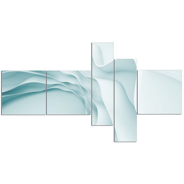 Designart Fractal Large Blue 3D Waves Multipanel Abstract Canvas Art Print - 5 Panels