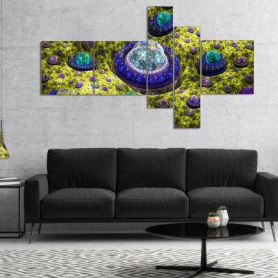 Designart Yellow Fractal Exotic Planet MultipanelAbstract Canvas Art Print - 5 Panels