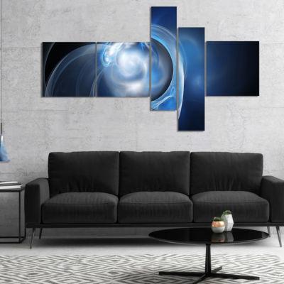 Designart Fractal Lighting In Dark Blue MultipanelAbstract Canvas Art Print - 4 Panels