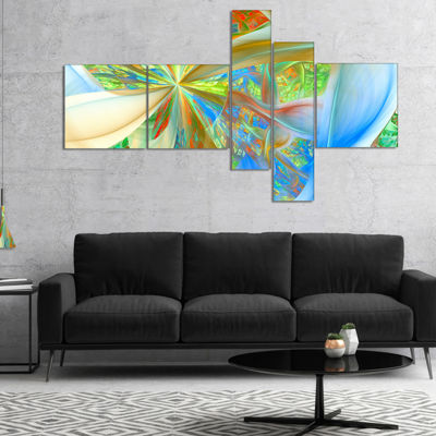 Designart Yellow Fractal Exotic Plant Stems Multipanel Abstract Canvas Art Print - 5 Panels