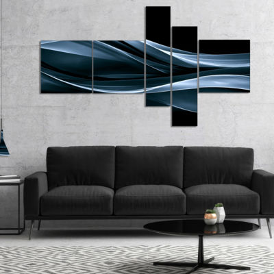 Designart Fractal Lines Blue In Black Multipanel Abstract Canvas Art Print - 4 Panels