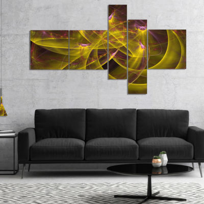 Designart Yellow Fractal Flames Multipanel Abstract Canvas Art Print - 4 Panels