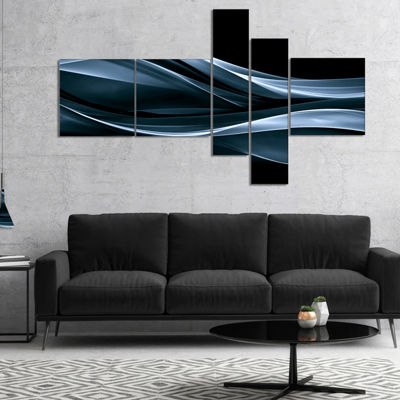 Designart Fractal Lines Blue In Black Multipanel Abstract Canvas Art Print - 5 Panels