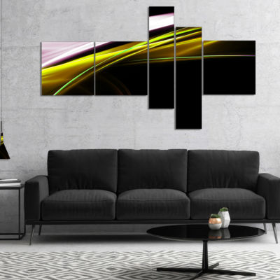 Designart Fractal Lines Golden White Multipanel Abstract Canvas Art Print - 4 Panels
