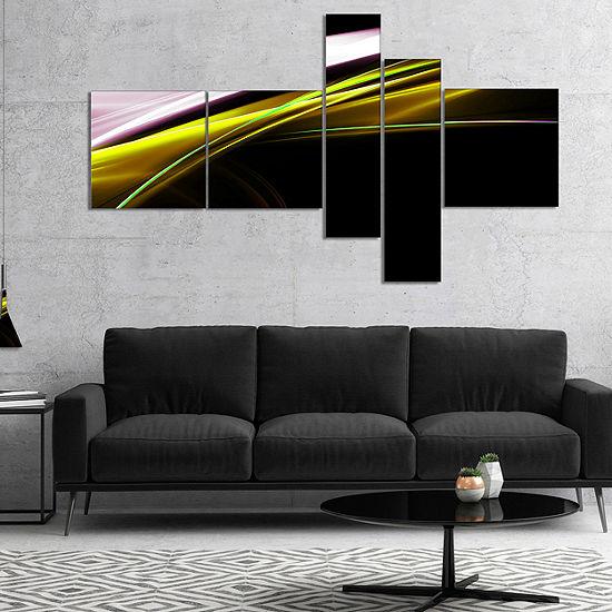 Designart Fractal Lines Golden White Multipanel Abstract Canvas Art Print 4 Panels