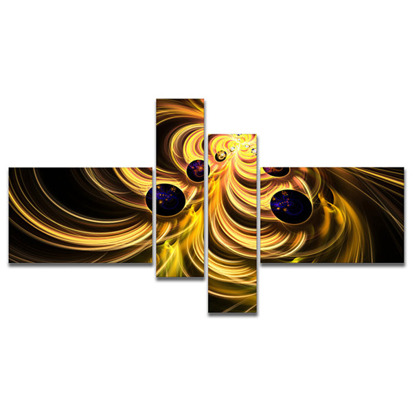 Designart Yellow Fractal Flames Multipanel Contemporary Canvas Art Print - 4 Panels