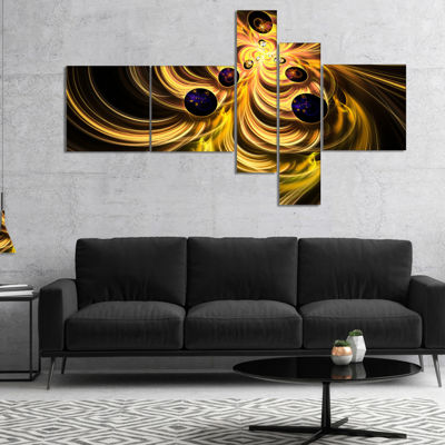 Designart Yellow Fractal Flames Multipanel Contemporary Canvas Art Print - 5 Panels