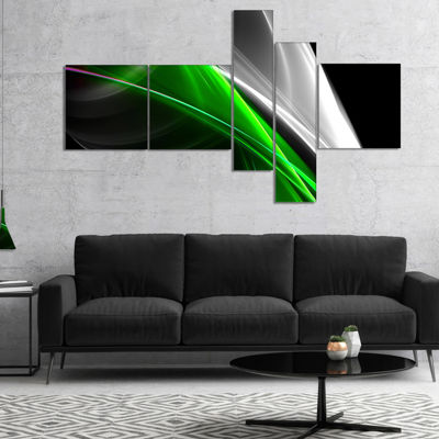 Designart Fractal Lines Green White Multipanel Abstract Canvas Art Print - 4 Panels