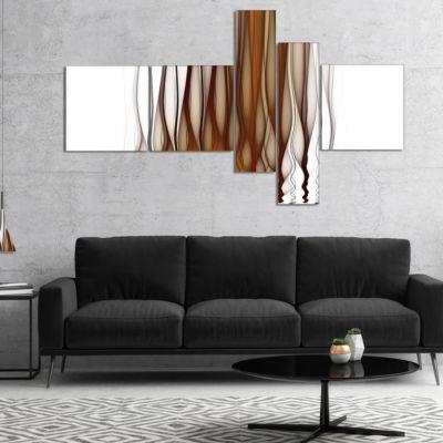Designart Yellow Fractal Flames Pattern MultipanelAbstract Art On Canvas - 4 Panels