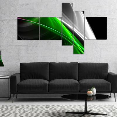 Designart Fractal Lines Green White Multipanel Abstract Canvas Art Print - 5 Panels