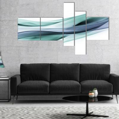 Design Art Fractal Lines Grey Blue Multipanel Abstract Canvas Art Print - 5 Panels