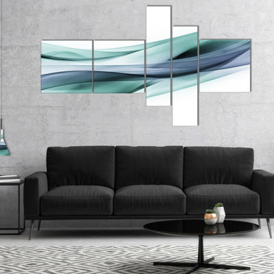 Designart Fractal Lines Grey Blue Multipanel Abstract Canvas Art Print - 5 Panels