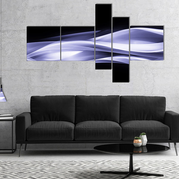 Designart Fractal Lines Purple In Black MultipanelAbstract Canvas Art Print - 4 Panels