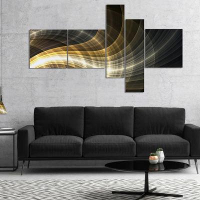 Designart Yellow Fractal Light Art Multipanel Abstract Canvas Art Print - 4 Panels