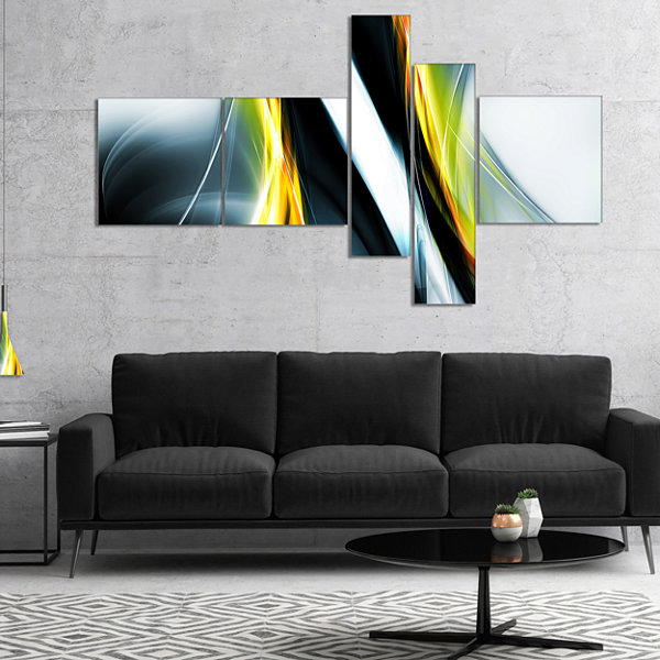 Designart Fractal Lines Yellow White Multipanel Abstract Canvas Art Print - 4 Panels