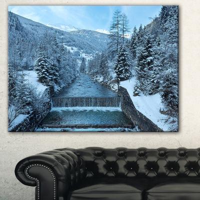 Designart Winter Mountain Stream Landscape Photography Canvas Print - 3 Panels