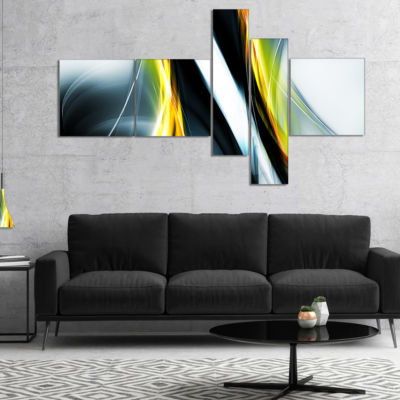 Designart Fractal Lines Yellow White Multipanel Abstract Canvas Art Print - 5 Panels