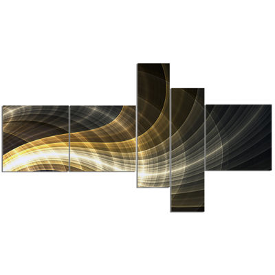 Designart Yellow Fractal Light Art Multipanel Abstract Canvas Art Print - 5 Panels