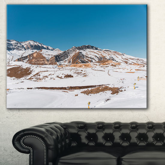 Designart Winter Mountains In Azerbaijan LanscapePhotography Canvas Print