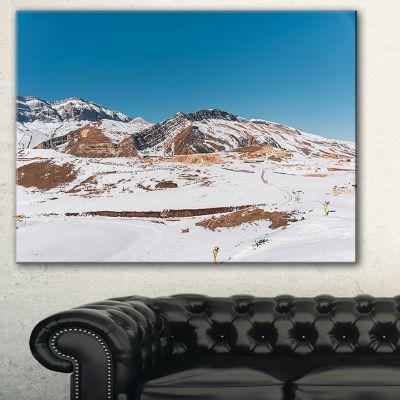 Designart Winter Mountains In Azerbaijan LandscapePhotography Canvas Print