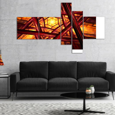 Designart Fractal Mandala Design Multipanel Abstract Canvas Art Print - 5 Panels