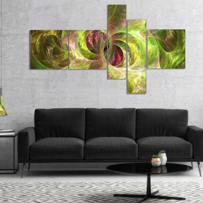 Designart Yellow Fractal Ornamental Glass Multipanel Abstract Canvas Art Print - 5 Panels