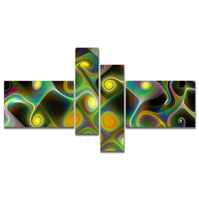 Designart Yellow Fractal Pattern With Swirls Multipanel Abstract Wall Art Canvas - 4 Panels
