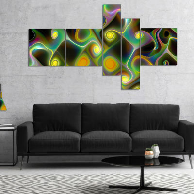 Designart Yellow Fractal Pattern With Swirls Multipanel Abstract Wall Art Canvas - 5 Panels