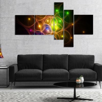 Designart Yellow Fractal Space Circles MultipanelAbstract Canvas Art Print - 5 Panels