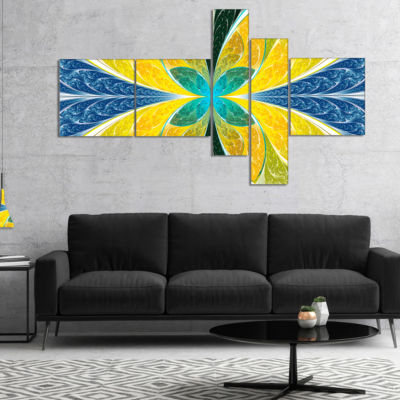Designart Yellow Fractal Stained Glass MultipanelAbstract Wall Art Canvas - 4 Panels