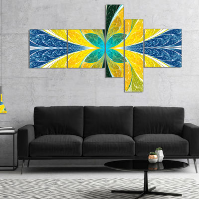 Designart Yellow Fractal Stained Glass MultipanelAbstract Wall Art Canvas - 5 Panels