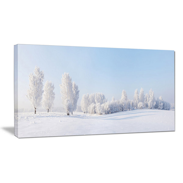 Designart Winter Trees Covered With Frost Landscape Photography Canvas Print