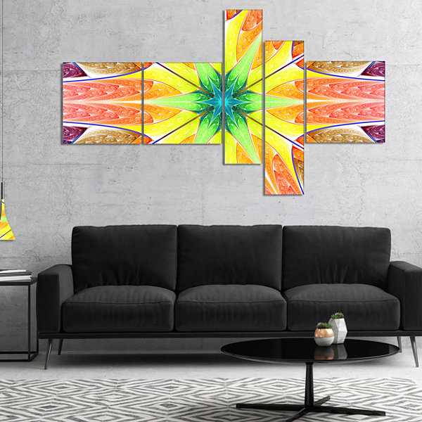 Designart Yellow Glowing Fractal Texture Multipanel Abstract Canvas Art Print - 4 Panels