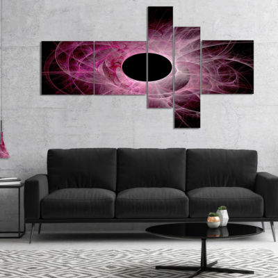 Designart Fractal Purple Circle On Black Multipanel Abstract Wall Art Canvas - 4 Panels