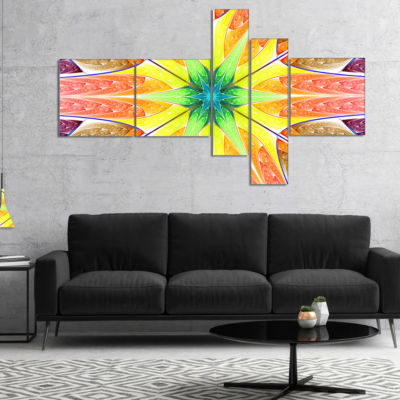 Designart Yellow Glowing Fractal Texture Multipanel Abstract Canvas Art Print - 5 Panels