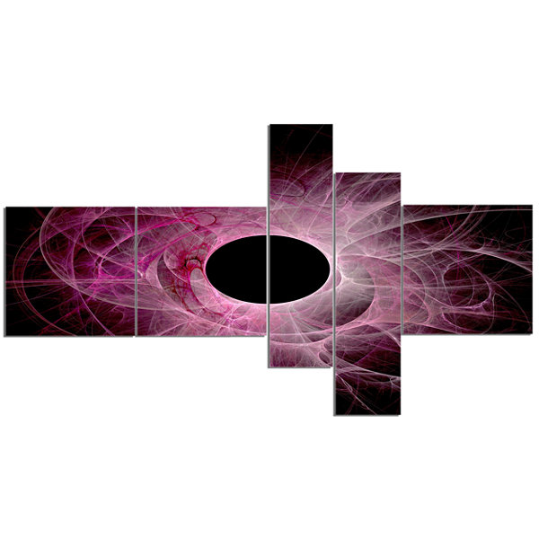 Designart Fractal Purple Circle On Black Multipanel Abstract Wall Art Canvas - 5 Panels