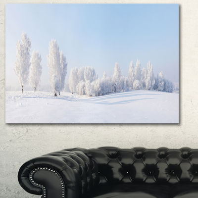 Designart Winter Trees Covered With Frost Landscape Photography Canvas Print - 3 Panels