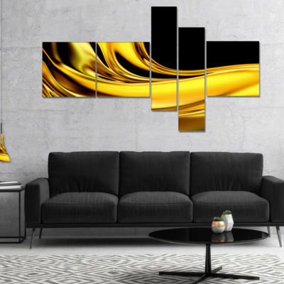Designart Yellow Gold Texture Pattern Multipanel Abstract Canvas Art Print - 5 Panels