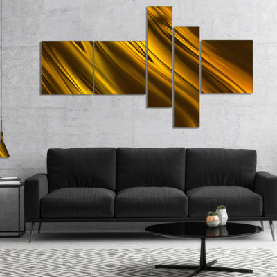 Designart Yellow Liquid Gold Design Multipanel Abstract Canvas Art Print - 5 Panels