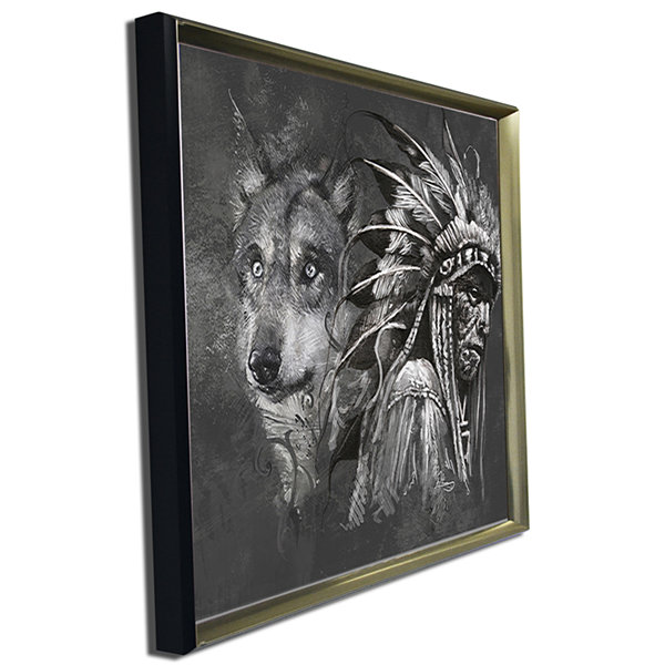 Designart Wolf And American Indian Chief AbstractCanvas Artwork
