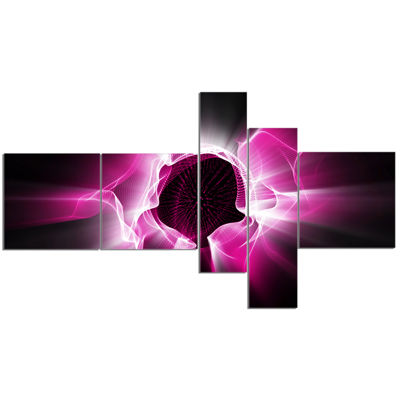 Designart Fractal Purple Light Shine Multipanel Abstract Canvas Art Print - 5 Panels