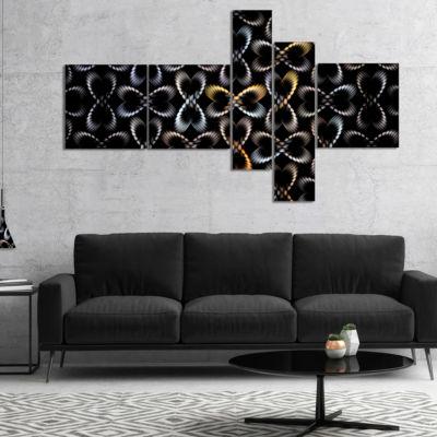 Designart Yellow Pattern Of Butterflies MultipanelAbstract Canvas Art Print - 5 Panels