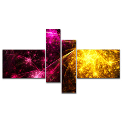 Designart Yellow Pink Colorful Fireworks Multipanel Abstract Canvas Art Print - 4 Panels