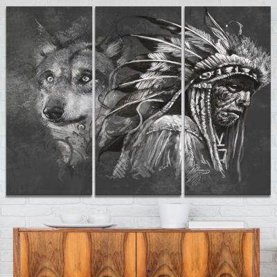 Designart Wolf And American Indian Chief AbstractCanvas Artwork - 3 Panels